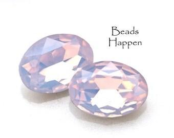18x13mm Oval Rose Light Rose Opal Glass Jewels, Rose Pink Opal Ovals, 18x13 Ovals, Rose Rosewater Opal Opals, 18x13 Opals, Glass, Quantity 2