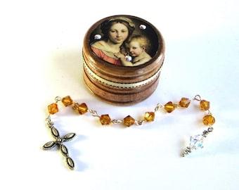 November Birthstone Rosary Set Pocket Rosary with Decorated Wood Box Topaz Crystal Topaz Chaplet Set Birthday Mothers Day Gift