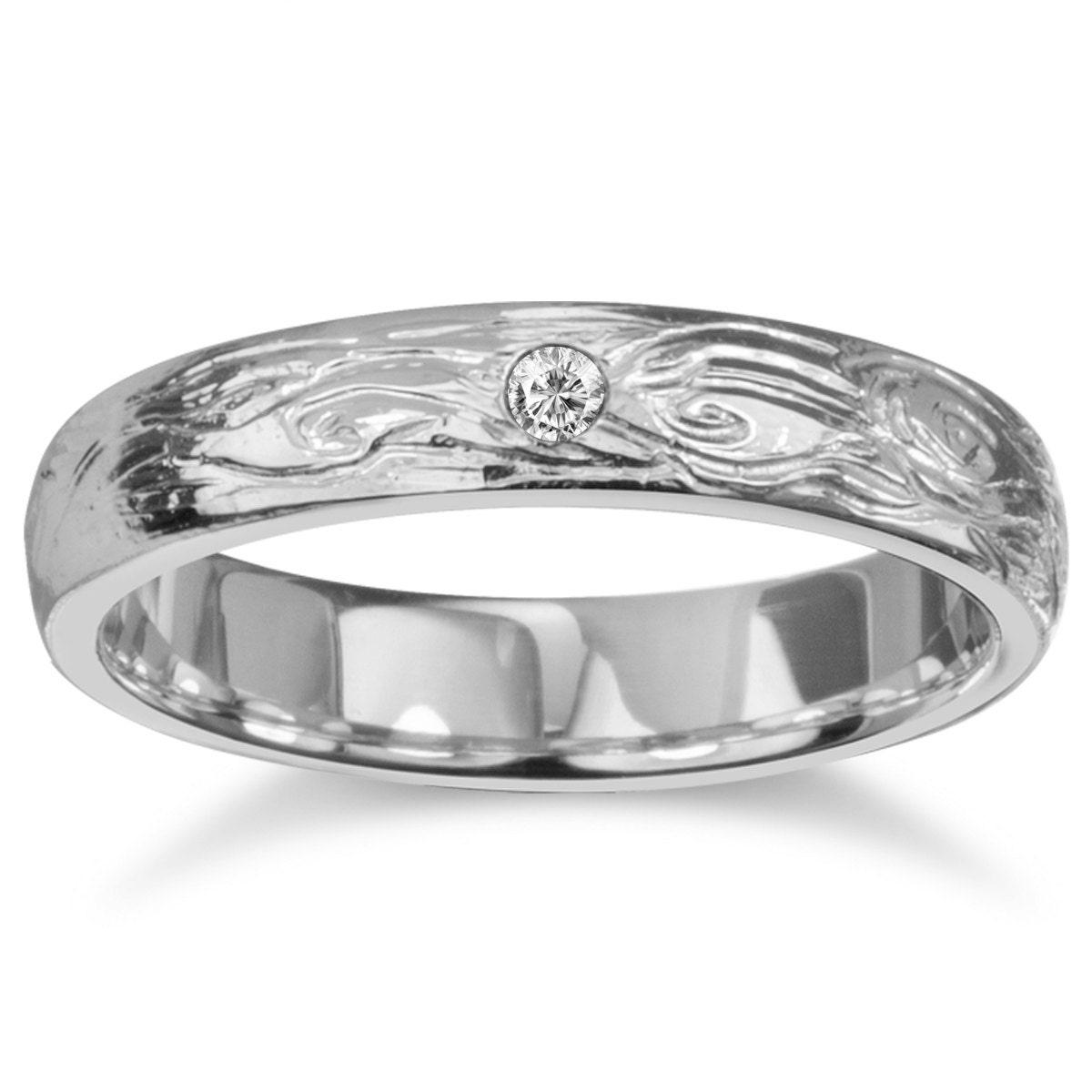 bark wedding band unisex wedding bands Tree Bark Wedding Band Diamond Wedding Ring Nature Inspired Ring Unisex Alternative Ring