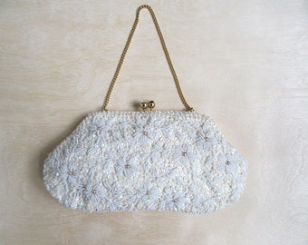 1950s beaded Purse white sequins handbag evening bag Delilah Hong Kong