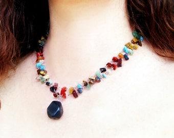 vintage stone necklace double strand natural semi precious stone necklace