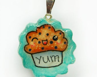Kawaii Muffin Necklace, Kawaii Charm, Kawaii Brooch, Blueberry Muffin Brooch, Blueberry Muffin Necklace, Boutique Jewelry, Kawaii Magnet