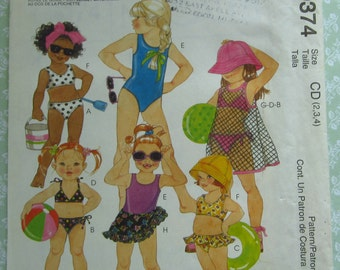 Little Girls Swimsuits, Cover-Up and Sarong Sizes 2 3 4 McCalls Pattern 9374 UNCUT