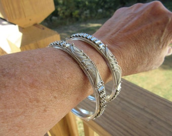Silver Metal Intricate Detailed Bangle Bracelets