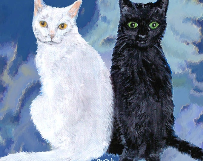 Black & White Cats Print Poster