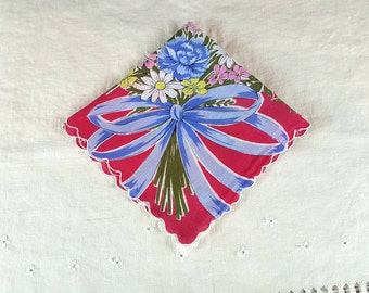 Vintage Hanky, Handkerchief, Bouquet of Flowers with Blue Bow on Red Background, Square with Scalloped Edge
