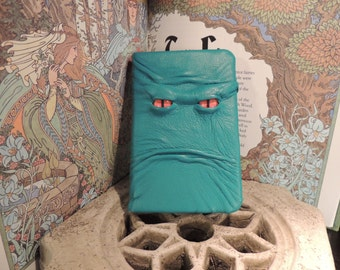 Mythical Beast Book (Teal leather with Orange eyes)