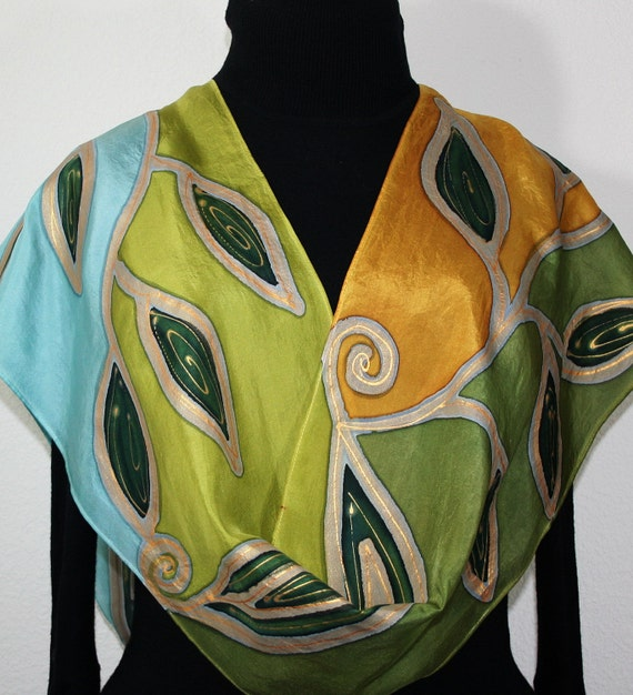 Olive Green, Sage Green Hand Painted Scarf DREAM GARDEN, in Several SIZES. Silk Scarves Colorado. Hand Dyed. 100% silk.