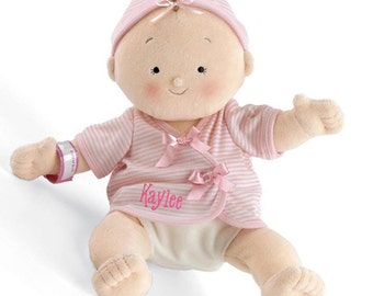 "PERSONALIZED Rosy Cheeks Soft Blond Girl Baby Doll 15"" Tall 2854"