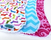 Baby Burp Cloth - Colorful Dachshund Burp Cloths - Wiener Dog Baby Gift, Baby Shower, Boutique Burp Cloth, Dog Lover Baby Gift