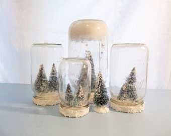 Quart-Sized Mason Jar Snow Globe with Tiny Trees, Forest Christmas Decoration