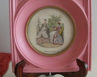 "Mid Century Godey's Fashions 1854 Print Pink wood Frame/ Godey's Fashions Vintage print Pink Color Frame 6""x6""/ Godey's Fashions framed art"
