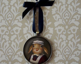 Rabbit Ornament, Christmas Ornament, Rabbit Cook, Edwardian Rabbit, Victorian Rabbit, Anthropomorphic, Chefs gift, Cooks gift, Hostess Gift