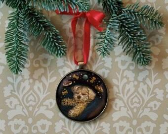 Dog Ornament - Christmas Ornament - Christmas Dog  -  Ready to Hang - Dog Portrait Ornament