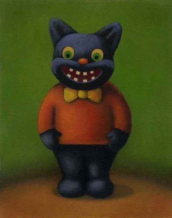 Halloween Black Cat Print - Vintage Halloween Cat Boy - Goblin
