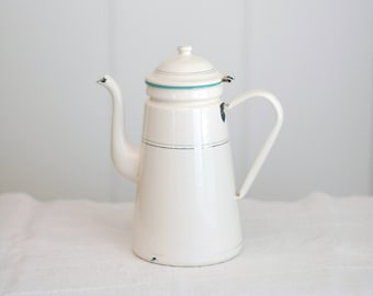VINTAGE French Enamel Coffee Pot - Cream with Teal + Gold Accents