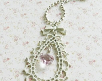 Cream and  pink charm necklace, heart, romantic jewelry, gifts under 15, for her, Europe