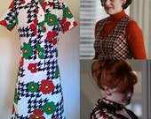 Vintage 60's Houndstooth Floral Dress by Honeycomb