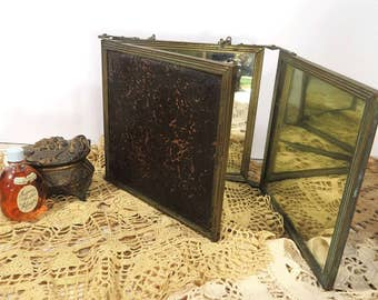 Vintage Tri-Fold Vanity Mirror, Antique Triple Frame Folding Traveling Mirror, Victorian Era, Embossed Leather
