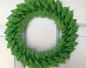 Green French Beaded Decorative Wreath (Small)