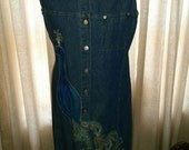 Custom Womens Classic Loose Fit Sleeveless Chambray with hand painted peacock detail Size Medium us12