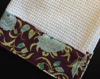 Kitchen Towel, Hand Towel, Tea Towel, Waffle Weave Towel, Dish Towel, Kitchen Hand Towel-Purple Floral