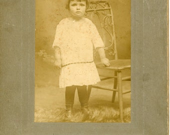 Vintage Photo, Cabinet Photo, Young Girl in Dress, Black & White Photo, Victorian Photo, Studio Portrait, Found Photo AUGUSTINE0986