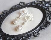 Pearl drop bridal earring, filigree wedding earings, vintage earrings, pearl dangle earrings, diamond stud earring, bridesmaid earrings