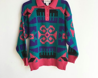Vintage 90s Multicolor Geometric Pattern Sweater / Button Up Collar / Multicolor Pullover