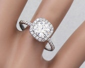 14K White Gold Round Cut Forever One Moissanite and Diamond Engagement Ring Halo Prong Bridal Wedding Anniversary Halo Natural Diamonds 2.15