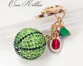 Green Watermelon Rhinestone Pendant Charm Key Chain Ring Keychain