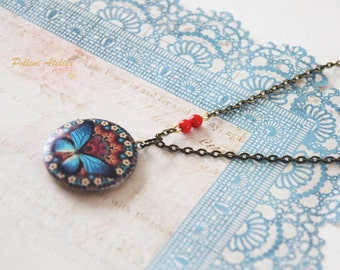 Butterfly Locket Necklace. Vintage Style Butterfly Locket Necklace. Butterfly Photo Locket Necklace. Gift For Her  (LN-09)
