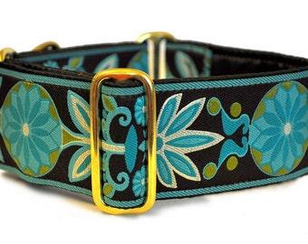 Martingale Collar or Buckle Dog Collar - Pinwheel Jacquard in Brown & Turquoise - 2 Inch, Greyhound Collar, Great Dane Collar, Custom Collar