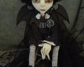 Eddie Goth Bat sad boy Art Doll OOAK LuLusApple