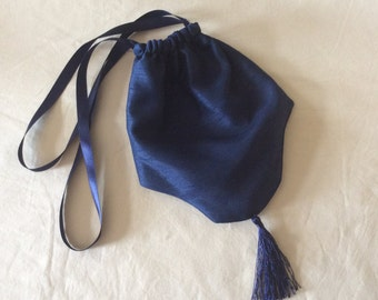 Regency Reticule,Bag. Victorian. Jane Austen. Navy Blue Faux Silk.