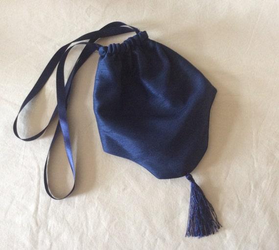 Regency Reticule,Bag. Victorian. Jane Austen. Navy Blue Faux Silk.