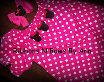 Ready To Ship Handmade Peasant Dress Size 9-12 months Comes with Matching Hair Bow