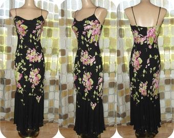 Vintage 90s Dress | 1990s Dress | Betsey Johnson Dress | Bias Cut Dress | Sheer Silk Chiffon | Fishtail Slip Retro 30s Gatsby Gown Sz SMALL