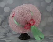 Tea Party Hat - Pink Easter Bonnet with Mint Green Satin Ribbon - Girls Sun Hat - Pink Easter Hat - Sunday Dress Hat - Derby Hat - 16201