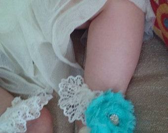 Turquoise Ruffled Barefoot Sandals, Lace, Shabby Chic Roses Barefoot Sandals, Photo Prop, Weddings