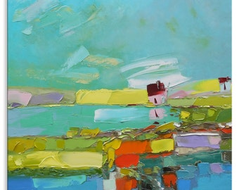The lake  -  light green valley relax grass wall decor home village hanging art field canvas original painting landscape impasto oil