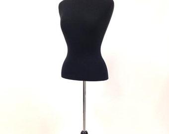 Black Female Dress Form With Black Base Desktop Mannequin