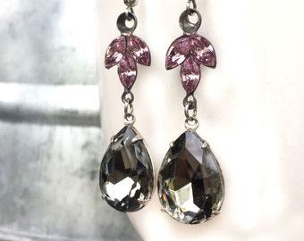 Wedding Statement Earrings - Gray Wedding Earrings - Delicate Wedding Earrings - Dangly Earrings - Dangle Earrings - Lilac Wedding Earrings