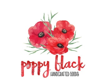 Premade customizable LOGO DESIGN with bold and elegant watercolour poppies illustration