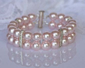Pink Blush Pearl Cuff, Pink Bridal Bracelet, Pink Blush Pearl Bracelet,  Swarovski Pearl Bracelet