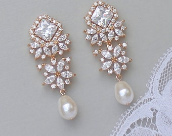 Crystal Chandelier Earrings, Rose Gold Bridal Earrings, Gold Pearl Drop Earrings, Bridal Jewelry, LISA TP