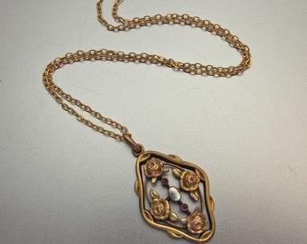 Czech Vintage Pendant 1910's Edwardian Mabe Pearl and Garnet