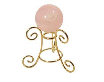 """Rose Quartz Sphere, 2"""" - 50mm with Gold Toned Stand"""
