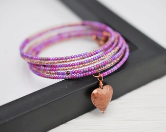 Purple Seed Bead Wrap Bracelet, Memory Wire Bracelet, Purple Wrap Bracelet, Copper Bracelet, Boho Bracelet, Beaded Bracelet, Free Shipping