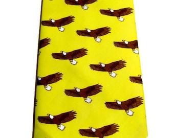Men's Eagle Necktie, Bird Tie, Yellow Tie, Southern Tie, Preppy Tie,  Necktie, Groomsmen Gifts, Fathers Day Gift, Unique Tie, Organic Tie